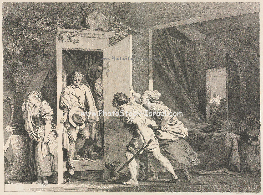 The Cupboard 1778 Jean-Honoré Fragonard (French, 1732-1806) France, 18th century Etching. Fragonard designed this popular etching to delight his viewers, who spy on the dramatic scene like the eavesdropping servants in the background. A maiden weeps as her boyfriend, caught hiding in a wardrobe, sheepishly faces the girl's angry parents. Rumpled bed sheets and the position of the hat give away the passionate activities of the young lovers. Comically, the hat with a broad ribbon held by the boy belongs to his girlfriend. His plain hat with a buttoned-up brim hangs in the cupboard.