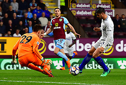 """Chelsea's Alvaro Morata (right) and Burnley goalkeeper Nick Pope (right) in action during the Premier League match at Turf Moor, Burnley. PRESS ASSOCIATION Photo. Picture date: Thursday April 19, 2018. See PA story SOCCER Burnley. Photo credit should read: Anthony Devlin/PA Wire. RESTRICTIONS: EDITORIAL USE ONLY No use with unauthorised audio, video, data, fixture lists, club/league logos or """"live"""" services. Online in-match use limited to 75 images, no video emulation. No use in betting, games or single club/league/player publications."""