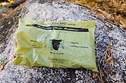 Wag Bag waste kit for the Mount Whitney Trail, John Muir Wilderness, California USA