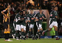 Photo: Lee Earle.<br /> Plymouth Argyle v Hull City. Coca Cola Championship. 09/12/2006. Plymouth's Sylvan Ebanks-Blake (2ndL) is congratulated after scoring the opening goal.