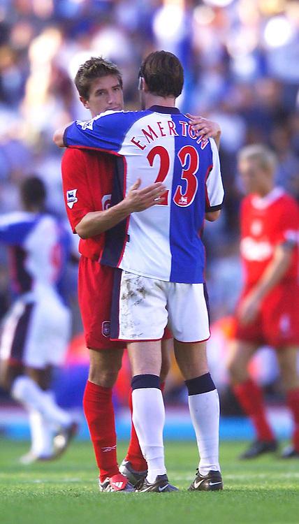Photo. Jed Wee.<br /> Blackburn Rovers v Liverpool, FA Barclaycard Premiership, Ewood Park, Blackburn. 13/09/2003.<br /> Australian Internationals, Liverpool's Harry Kewell (L) and Blackburn's Brett Emerton embrace at the end of the game.