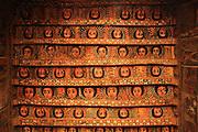 Africa, Ethiopia, Gondar, Painted ceiling in the Church of Debre Birhan Selassie painting of 80 cherubic faces