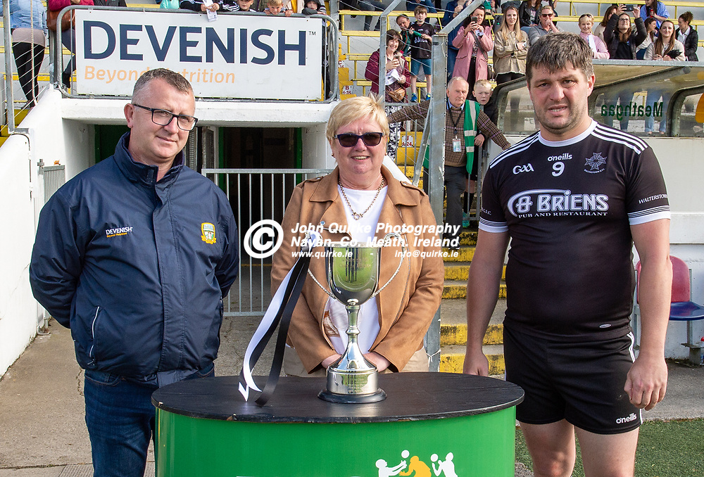 From left:  Jason Plunkett, Central Council Delagate; Joan Connolly (Seamus Connolly Catering-Sponsor) and Alban Crosbie, Walterstown. After walterstown were victorious in the Castletown v Walterstown, 2020 Corn na Boinne Final match, at Pairc Tailteann, Navan.<br /> <br /> Photo: GERRY SHANAHAN-WWW.QUIRKE.IE<br /> <br /> 02-08-2021