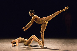 """© Licensed to London News Pictures. 09/03/2015. London, England. Pictured: Junor Souza and Laurretta Summerscales performing in Petite Mort, choregraphy by Jiri Kylián. Dress rehearsal of the triple bill """"Modern Masters"""" performed by dancers from the English National Ballet at Sadler's Wells. Performances from 10 to 15 March 2015. Photo credit: Bettina Strenske/LNP"""