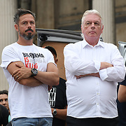 24 July 2021, Trafalgar London. Speaker Gareth Icke and David Icke in London to oppose covid vaccines and government restrictions, London, UK.