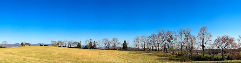Panorama of Virginia countryside on a clear spring day