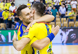 Luka Zvizej and Blaz Janc of Celje celebrate as National Champions 2017 during trophy ceremony after handball match between RK Celje Pivovarna Lasko and RK Gorenje Velenje in Last Round of 1. Liga NLB 2016/17, on June 2, 2017 in Arena Zlatorog, Celje, Slovenia. Photo by Vid Ponikvar / Sportida