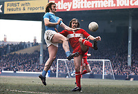 Terry Cooper (Miidlesbrough) Rodney Marsh (City) Manchester City v Middlesbrough 28/03/1975 Credit : Colorsport