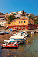 The harbour of the small fishing village of Kaminia, Hydra,  Greek Saronic Islands .<br /> <br /> Visit our GREEK HISTORIC PLACES PHOTO COLLECTIONS for more photos to download or buy as wall art prints https://funkystock.photoshelter.com/gallery-collection/Pictures-Images-of-Greece-Photos-of-Greek-Historic-Landmark-Sites/C0000w6e8OkknEb8