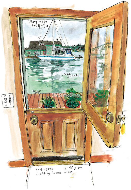 """A view of the famous """"Sleepless in Seattle"""" houseboat from inside another floating home on the Lake Union docks.<br /> <br /> Gabriel Campanario / The Seattle Times"""