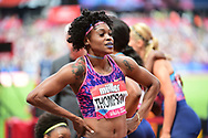 Elaine Thompson (JAM) takes first place in the 100m Women final during the Muller Anniversary Games at the London Stadium, London, England on 9 July 2017. Photo by Jon Bromley.