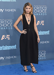 Stars attend the 22nd Annual Critics Choice Awards in Santa Monica, California. 11 Dec 2016 Pictured: Sarah Hyland. Photo credit: Bauer Griffin / MEGA TheMegaAgency.com +1 888 505 6342