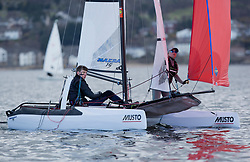 The annual RYA Youth National Championships is the UK's premier youth racing event. This year's regatta is taking place in Largs, Scotland, and will feature around 200 young sailors aged between 14 and 21. <br /> <br /> 126, William Smith, Abigail Clarke, Grafham SC/Lymington YC, Nacra 15 Open <br /> <br /> Images: Marc Turner / RYA<br /> <br /> For further information contact:<br /> <br /> Richard Aspland, <br /> RYA Racing Communications Officer (on site)<br /> E: richard.aspland@rya.org.uk<br /> m: 07469 854599