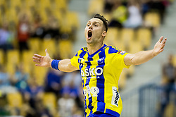 Luka Zvizej of Celje reacts during handball match between RK Celje Pivovarna Lasko and RK Gorenje Velenje in Last Round of 1. Liga NLB 2016/17, on June 2, 2017 in Arena Zlatorog, Celje, Slovenia. Photo by Vid Ponikvar / Sportida