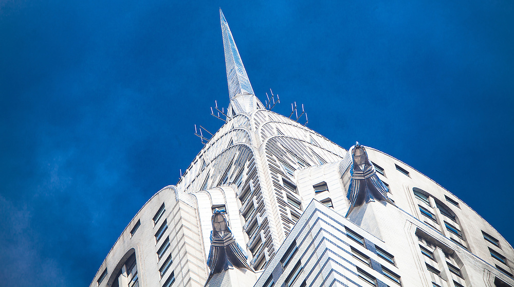 The spire and upper stories of the Art Deco Chrysler Building