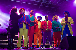 Five Guys Named Moe interviewed on stage by Arlene Stuart at this years  Light Night.  The Street of Light at the west end of George Street will make its first appearance as part of Light Night and the acts will perform on a stage by its lights. Choirs from across Scotland including Edinburgh Festival Chorus, Royal Scottish National Orchestra Junior Chorus, Edinburgh's Got Soul and Edinburgh Rock Choir will perform in front of an expected audience of around 20,000 people.  <br /> The whole event is hosted by Forth One Arlene Stuart. Callum Skinner, gold cycling medallist will be the one pushed the button at 5pm. Sunday 20th November 2016 (c) Brian Anderson   Edinburgh Elite media
