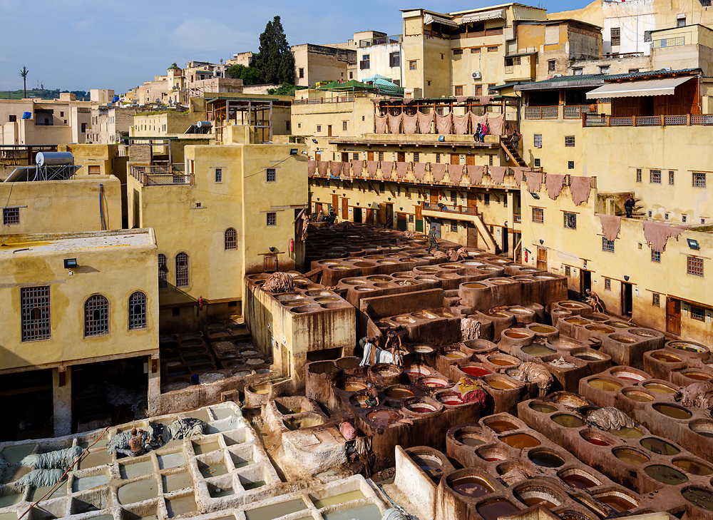 FEZ, MOROCCO - CIRCA MAY 2018: Interior patio of the Chouara Tannery in Fes.  Built in the 11th century, it is the largest tannery in the city. It is located in the Fes el Bali, the oldest medina quarter of the city,