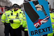 Anti Brexit pro Europe poster depicting a character shooting themselves in the foot in Westminster opposite Parliament on the day MPs vote on EU withdrawal deal amendments on 29th January 2019 in London, England, United Kingdom.