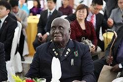 LUSAKA, April 22, 2014  Zambian former president Kenneth Kaunda attends a ceremony held in the Chinese Embassy in Lusaka, Zambia, April 21, 2014.  The Chinese Embassy in Lusaka on Monday celebrated the 90th birthday of former Zambian president Kenneth Kaunda. (Credit Image: © Xinhua via ZUMA Wire)