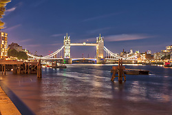 Tower Bridge and London city at night, England, London, UK