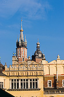 St Mary's Basilica and Sukiennice in Stare Miasto Krakow Old Town Poland