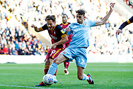 Bradford City midfielder Jack Payne (10) on loan from Huddersfield Town, misses a penalty when the score was 1-2 and Sunderland defender Tom Flanagan (12) gets to the rebound first during the EFL Sky Bet League 1 match between Bradford City and Sunderland at the Northern Commercials Stadium, Bradford, England on 6 October 2018.