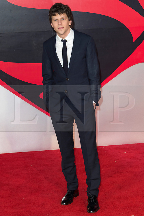 © Licensed to London News Pictures. 22/03/2016. JESSE EISENBERG attends the Batman V Superman: Dawn of Justice European film premiere. The film is based on the DC Comics characters. London, UK. Photo credit: Ray Tang/LNP