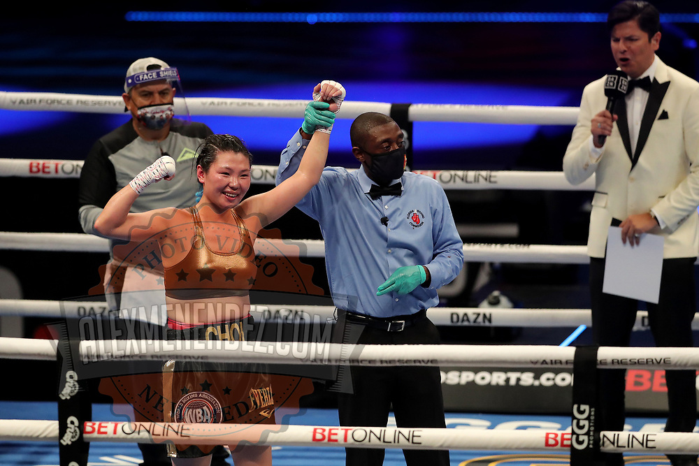 Hyun Mi Choi of South Korea celebrates her win over Calista Silgado of Columbia during the undercard bout of the Gennady Golovkin versus Kamil Szeremeta world title fight at the Seminole Hard Rock Hotel and Casino in Hollywood, Florida USA on 18, Dec 2020. Photo: Alex Menendez