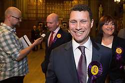 © Licensed to London News Pictures . FILE PICTURE DATED 25/05/2014 of STEVEN WOOLFE at Manchester Town Hall , UK as today , 14th July 2016 , Woolfe has declared his intention to stand as the next leader of UKIP , following the resignation of Nigel Farage . Photo credit : Joel Goodman/LNP