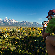 A Teton Teton Science Schools wildlife tour stops to explore the balsamroot flowers along the Antelope Flats Road in Grand Teton National Park, Wyoming.(Greg Peck)
