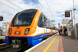 © Licensed to London News Pictures. 30/08/2019. London, UK. An electric train arrives at Harringay Green Lanes railway station travelling to Gospel Oak, north London.<br /> London Overground's Gospel Oak to Barking line is exclusively operated by new four-car electric air-conditioned trains, doubling capacity, restoring a 15 minute frequency and bringing greater reliability to the service. To celebrate this milestone, the Mayor of London and Transport for London (TfL) are offering customers a month of free travel on the line from Saturday 31 August to Tuesday 1 October inclusive. The new state-of-the-art trains can carry nearly 700 people and feature free WiFi, real-time information screens, air-conditioning, USB charging points and more wheelchair spaces. Photo credit: Dinendra Haria/LNP