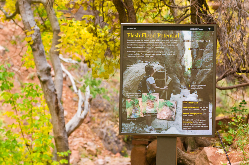 Sign at the start of the Narrows warning of flash flood potential, Zion National Park, Utah