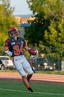 KELOWNA, BC - AUGUST 3:  Javen Kaechele #84 of Okanagan Sun scores a touchdown against the Kamloops Broncos during the first quarter at the Apple Bowl on August 3, 2019 in Kelowna, Canada. (Photo by Marissa Baecker/Shoot the Breeze)