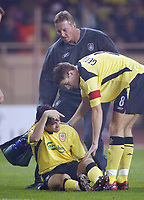 23/11/2004 - UEFA Champions League - Group A - AS Monaco v Liverpool  - Stade Louis II, Monte Carlo<br />Liverpool's Luis Garcia gestures to the Liverpool bench that he should be replaced as team mate Steven Gerrard comes to his aid as he breaks down within the first 30 seconds of the match with a hamstring injury<br />Photo:Jed Leicester/Back Page Images