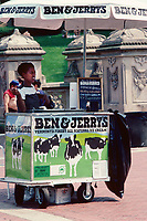 Ben & Jerry's ice cream seller at Bethesda Terrace in Central Park, 1989.
