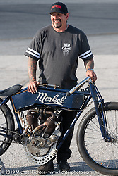 Billy Lane with his Flying Merkel board track style racer he built for the Sons of Speed Vintage Motorcycle Races at New Smyrina Speedway. New Smyrna Beach, USA. Saturday, March 9, 2019. Photography ©2019 Michael Lichter.