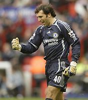 Photo: Aidan Ellis.<br /> Sheffield United v Chelsea. The Barclays Premiership. 28/10/2006.<br /> Chelsea keeper Henrique Hilario celebrates the second goal