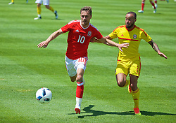 VALE DO LOBO, PORTUGAL - Sunday, May 29, 2016: Wales' Aaron Ramsey and Ashley 'Jazz' Richards during a Wales v Wales training match on day six of the pre-UEFA Euro 2016 training camp at the Vale Do Lobo resort in Portugal. (Pic by David Rawcliffe/Propaganda)