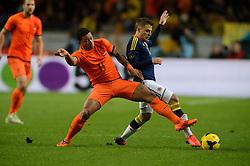 19-11-2013 VOETBAL: NEDERLAND - COLOMBIA: AMSTERDAM<br /> Nederland speelt met 0-0 gelijk tegen Colombia / Memphis Depay, James Rodriguez <br /> ©2013-FotoHoogendoorn.nl