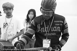 Shinya Kimura and with teammates Yoshimasa Niimi Ayu Yamakita on the sands of Daytona Beach just before the start of the Motorcycle Cannonball. Stage 1 of the Motorcycle Cannonball Cross-Country Endurance Run, which on this day ran from Daytona Beach to Lake City, FL., USA. Friday, September 5, 2014.  Photography ©2014 Michael Lichter.