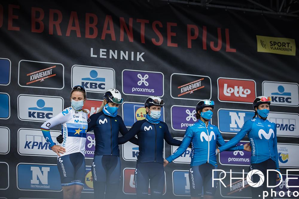Team Movistar pre race team presentation<br /> <br /> Women's Elite Brabantse Pijl 2021 <br /> 1 Day Race: Lennik - Overijse 127km<br /> <br /> ©Rhode.Photo