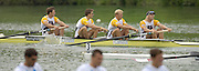 2005 FISA World Cup, Rotsee, Lucerne, SWITZERLAND, 10.07.2005 GBR M4- row across the finishing line, winning the final of the men's fours and the yellow points jerey after winning the two previous rounds of the 2005 FISA World Cup Regatta, and the final round held on Lake Rotsee. Lucerne. [full crew left to right Steve Williams, Peter Reed, Alex partridge and Andy Twiggs Hodge] © Peter Spurrier.  email images@intersport-images..[Mandatory Credit Peter Spurrier/ Intersport Images] Rowing Course, Lake Rottsee, Lucerne, SWITZERLAND.