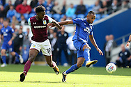 Loic Damour of Cardiff city ® breaks away from Joshua Onomah of Aston Villa (l).  EFL Skybet championship match, Cardiff city v Aston Villa at the Cardiff City Stadium in Cardiff, South Wales on Saturday 12th August 2017.<br /> pic by Andrew Orchard, Andrew Orchard sports photography.