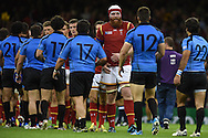 Jake Ball of Wales © shakes hands with the Uruguay players at the end of the match. Rugby World Cup 2015 pool A match, Wales v Uruguay at the Millennium Stadium in Cardiff, South Wales  on Sunday 20th September 2015.<br /> pic by  Andrew Orchard, Andrew Orchard sports photography.
