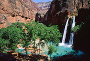 On the Havasupai Indian Reservation, Havasu Falls, Creek, and Canyon flow into Grand Canyon, Arizona, USA. Published in 2013 for a tour brochure by Shogai-kando.com of Japan.