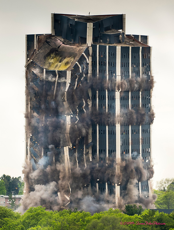 Martin Tower, Bethlehem Steel's former world headquarters in Bethlehem, Pa. is imploded early Sunday, May 19, 2019.<br /> - Photography by Donna Fisher.<br /> - Donna Fisher Photography, LLC                      - donnafisherphoto.com