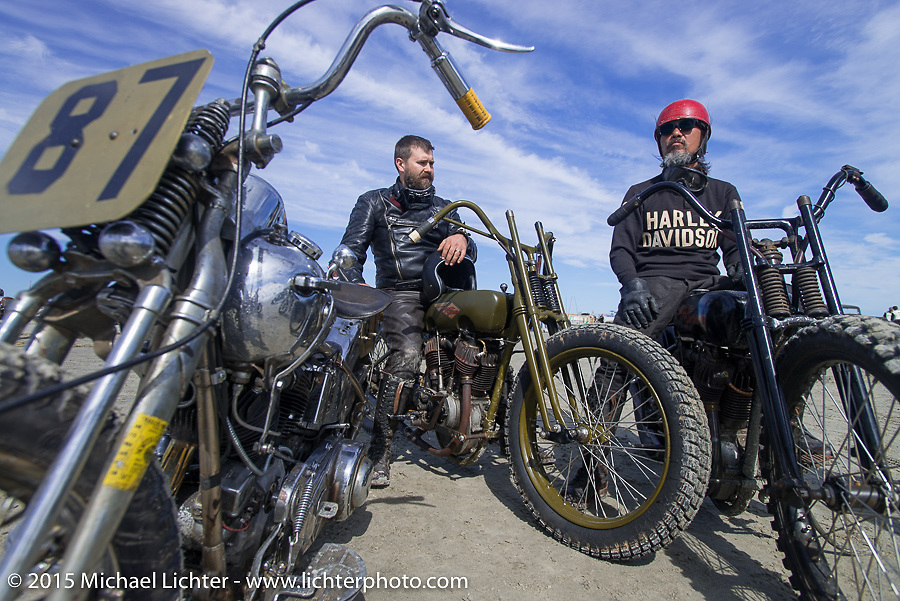 Matt Walksler on his cut down Harley-Davidson with his good customer Atsushi (Sushi) Yasui of Freewheelers and Company from Japan on his antique Harley-Davidson racer at the Race of Gentlemen. Wildwood, NJ, USA. October 10, 2015.  Photography ©2015 Michael Lichter.