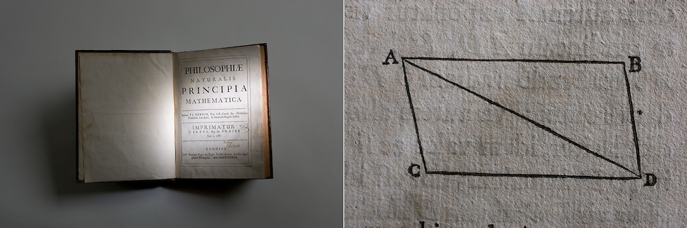 Isaac Newton book and detail. Stanford Archives