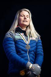 February 22, 2019 - Seefeld In Tirol, AUSTRIA - 190222 Bronze medalist Mari Eide of Norway closes her eyes at the medal ceremony for women´s cross-country skiing sprint during the FIS Nordic World Ski Championships on February 22, 2019 in Seefeld in Tirol..Photo: Joel Marklund / BILDBYRÃ…N / kod JM / 87883 (Credit Image: © Joel Marklund/Bildbyran via ZUMA Press)