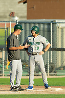 KELOWNA, BC - JULY 24: Nick Israel #10 of the Yakima Valley Pippins stands at third base speaking to the coach against the the Kelowna Falcons at Elks Stadium on July 24, 2019 in Kelowna, Canada. (Photo by Marissa Baecker/Shoot the Breeze)